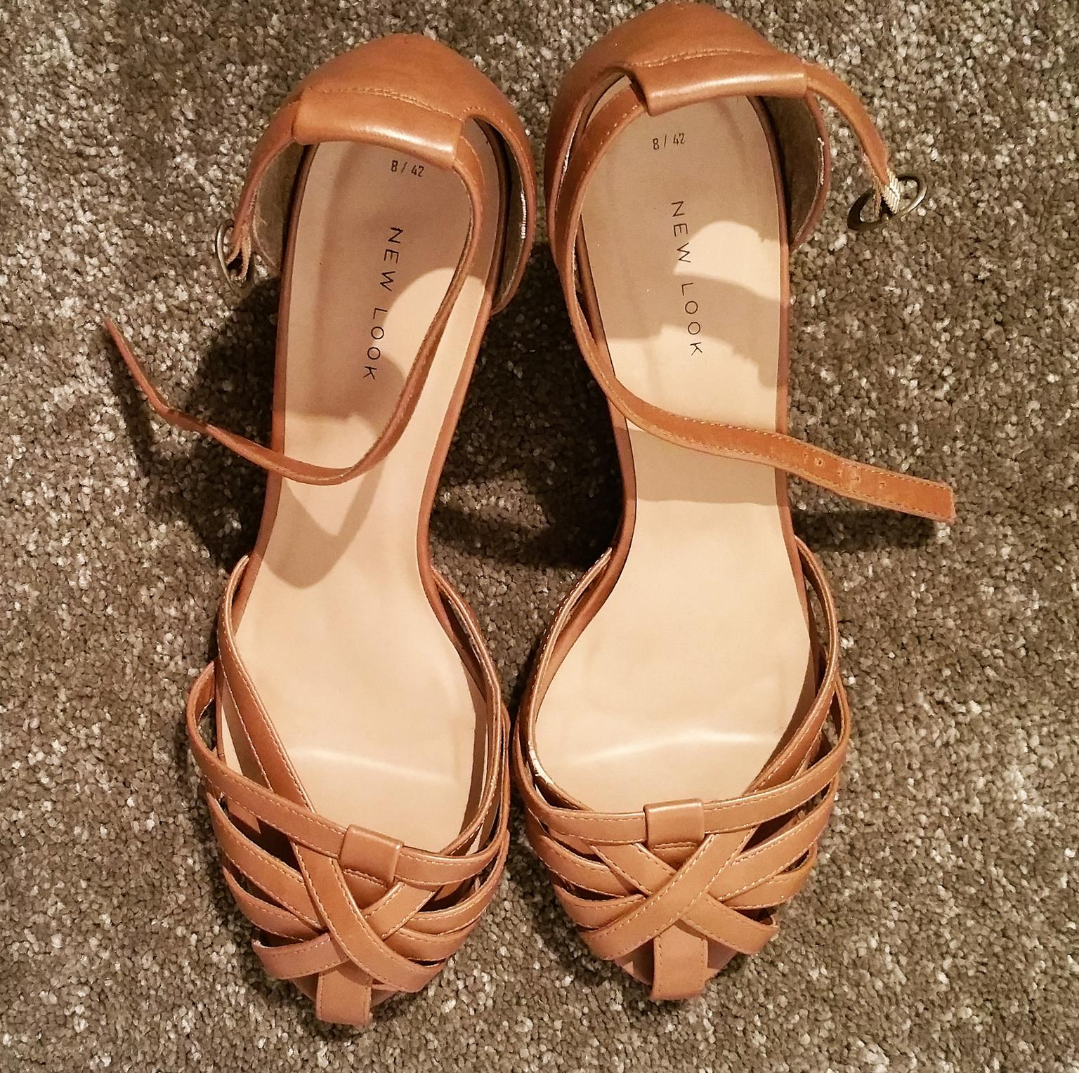 96148e8e4a5 New Look Tan Wedge Heel Caged Sandals