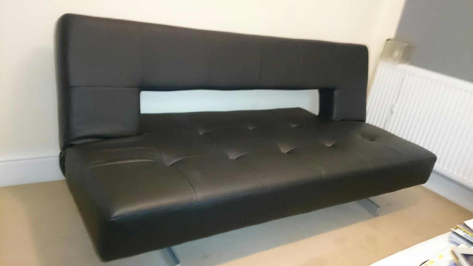 Dwell Black Leather Effect Pisa Sofabed