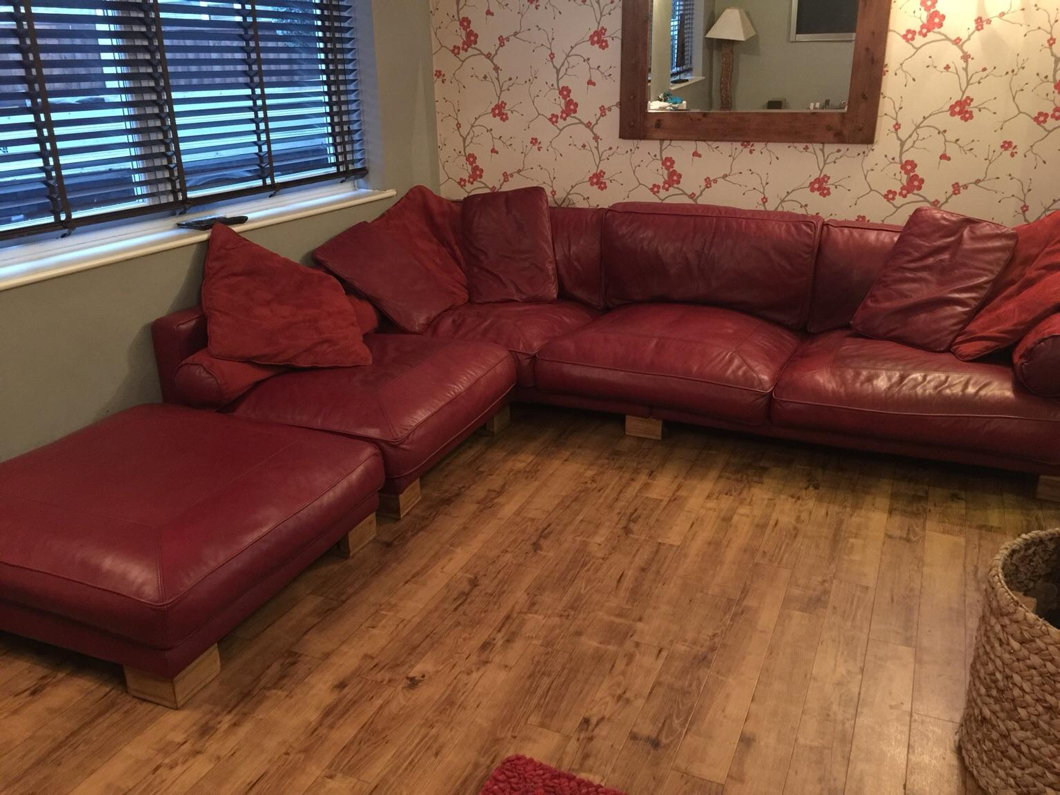 Dfs Dark Red Leather Corner Sofa In