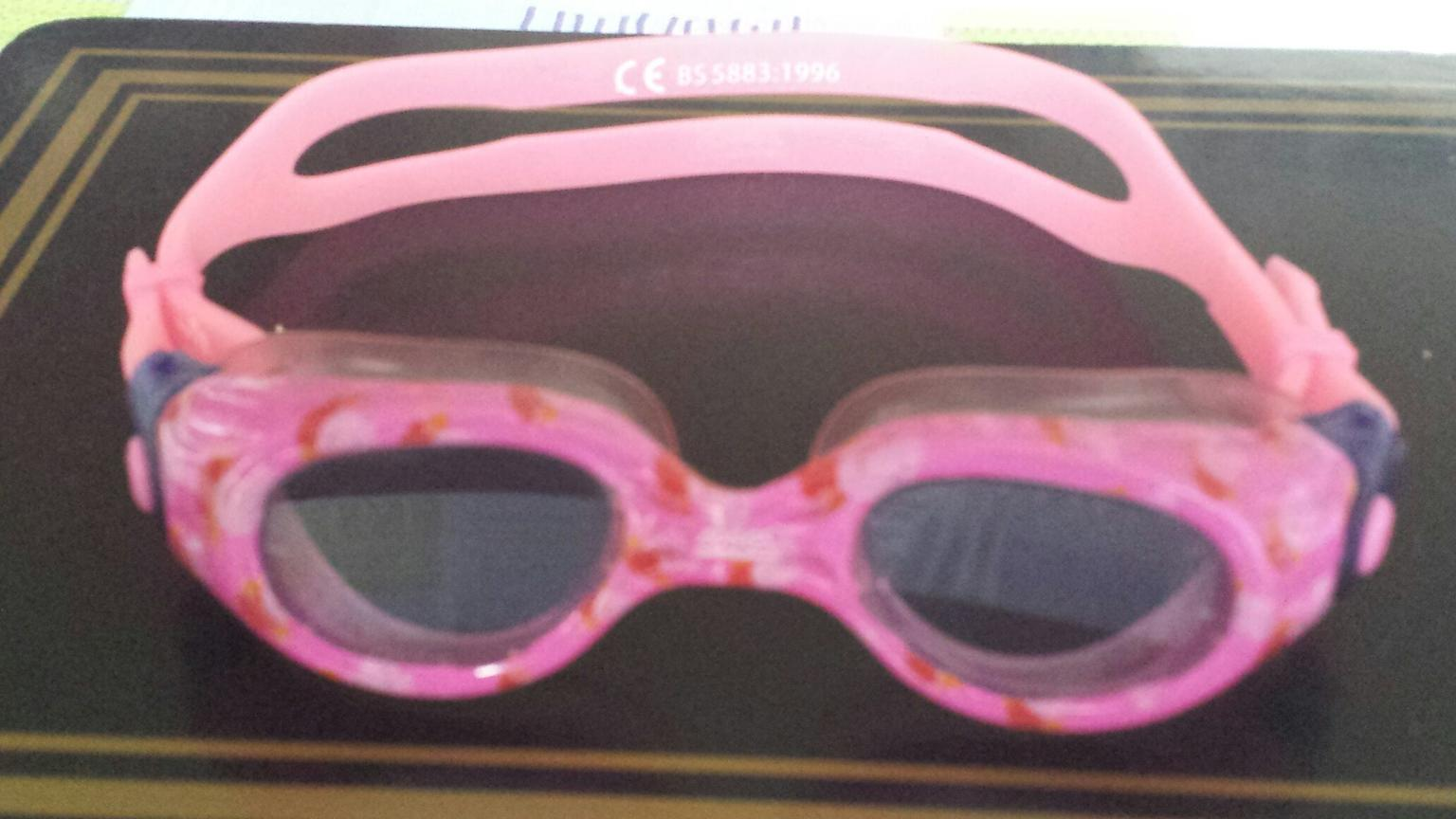 PINK ADJUSTABLE STRAP PEPPA PIG MOLDED SWIMMING GOGGLES  AGES 3