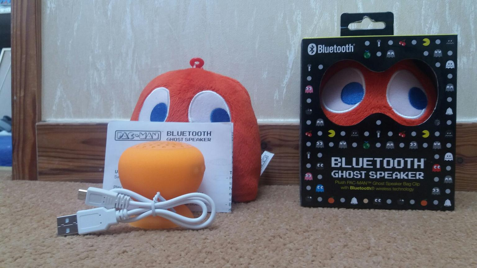 Plush Pac-Mac Ghost Wireless Bluetooth Speakers with Bag Clip