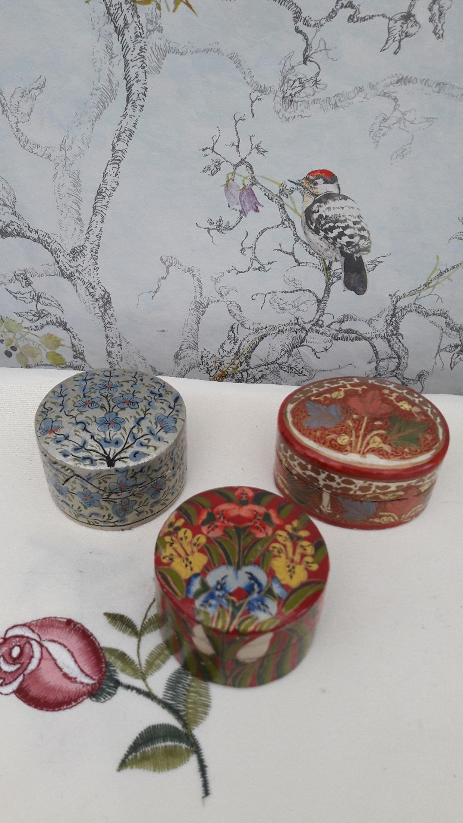 3 Paper-Mache// Trinkets or Snuff Different Boxes From £10.00
