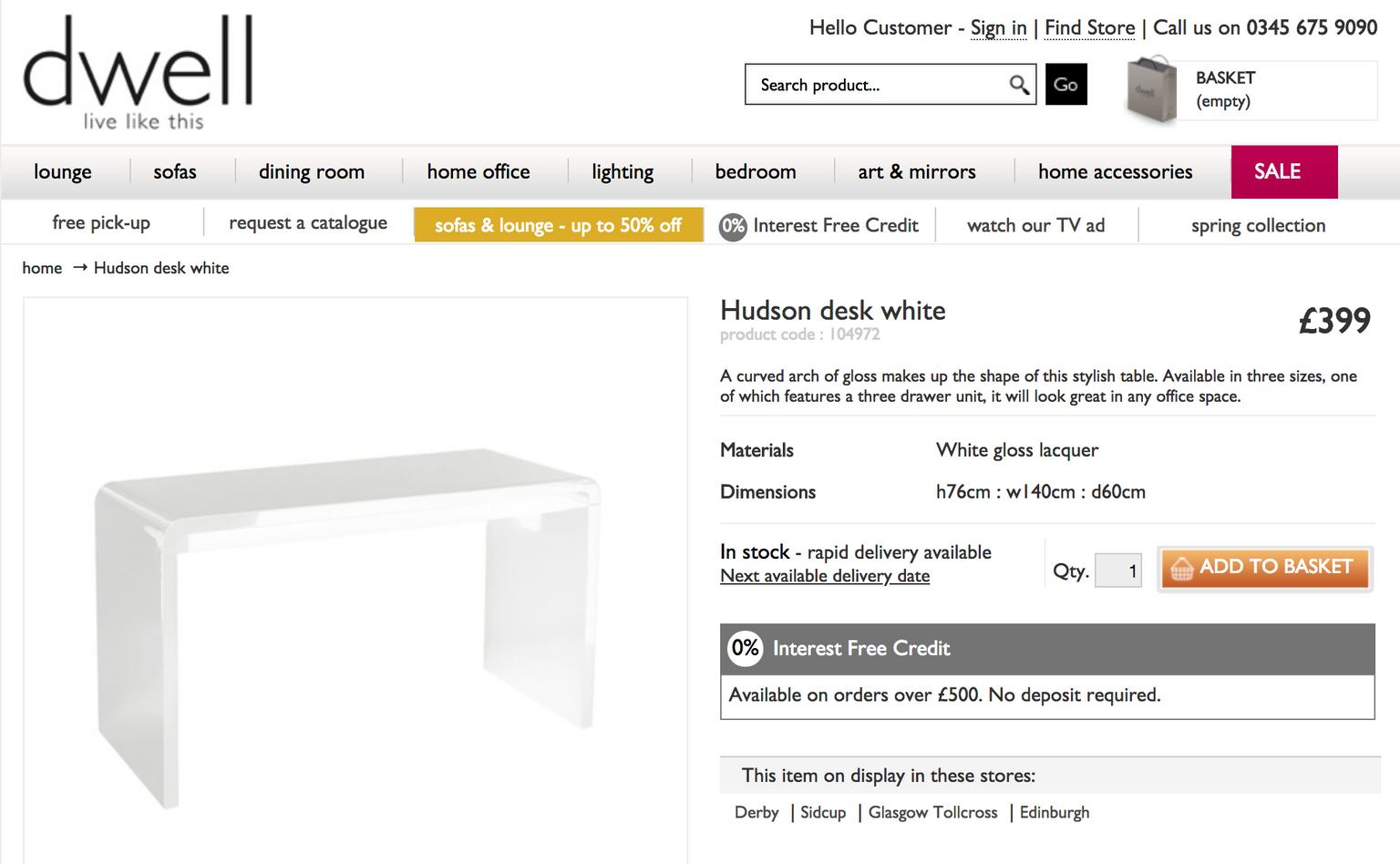Hudson Computer Desk Rectangular In White High Gloss