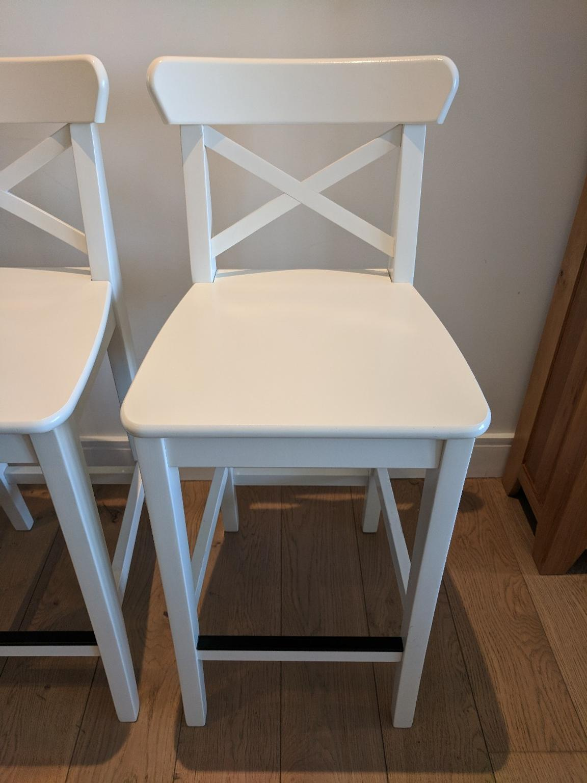 2 White Ikea Ingolf Bar Stools With Backrest In Tw8