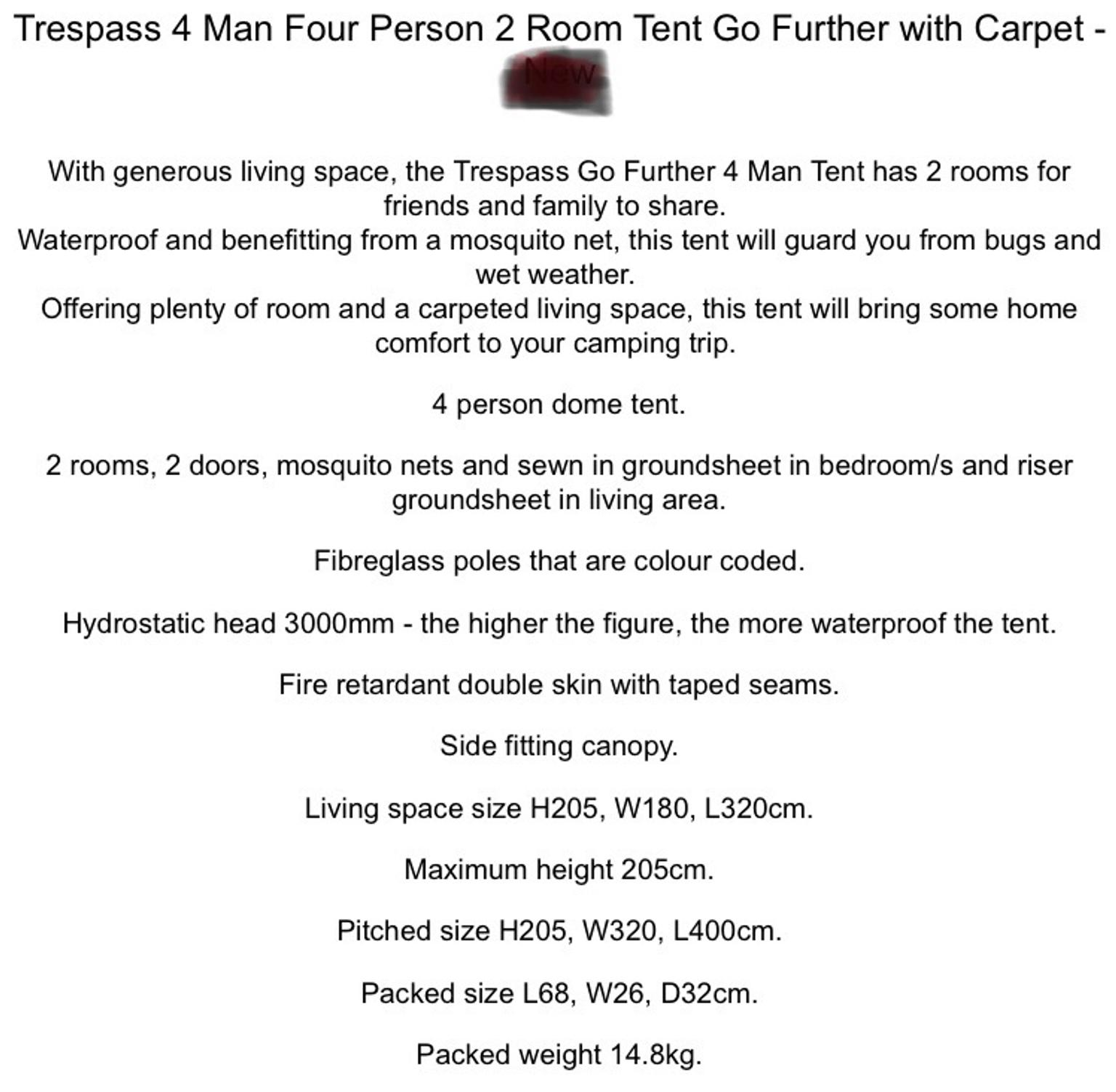 Trespass Go Further 4 man tent