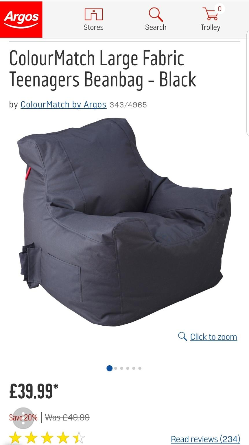 Pleasing Nearly New Bean Bag Chair X2 From Argos Squirreltailoven Fun Painted Chair Ideas Images Squirreltailovenorg
