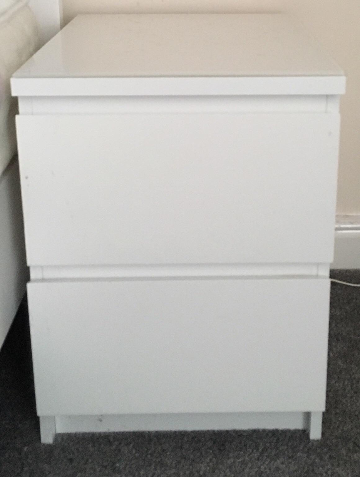 Ikea White Malm Bedside Tables In
