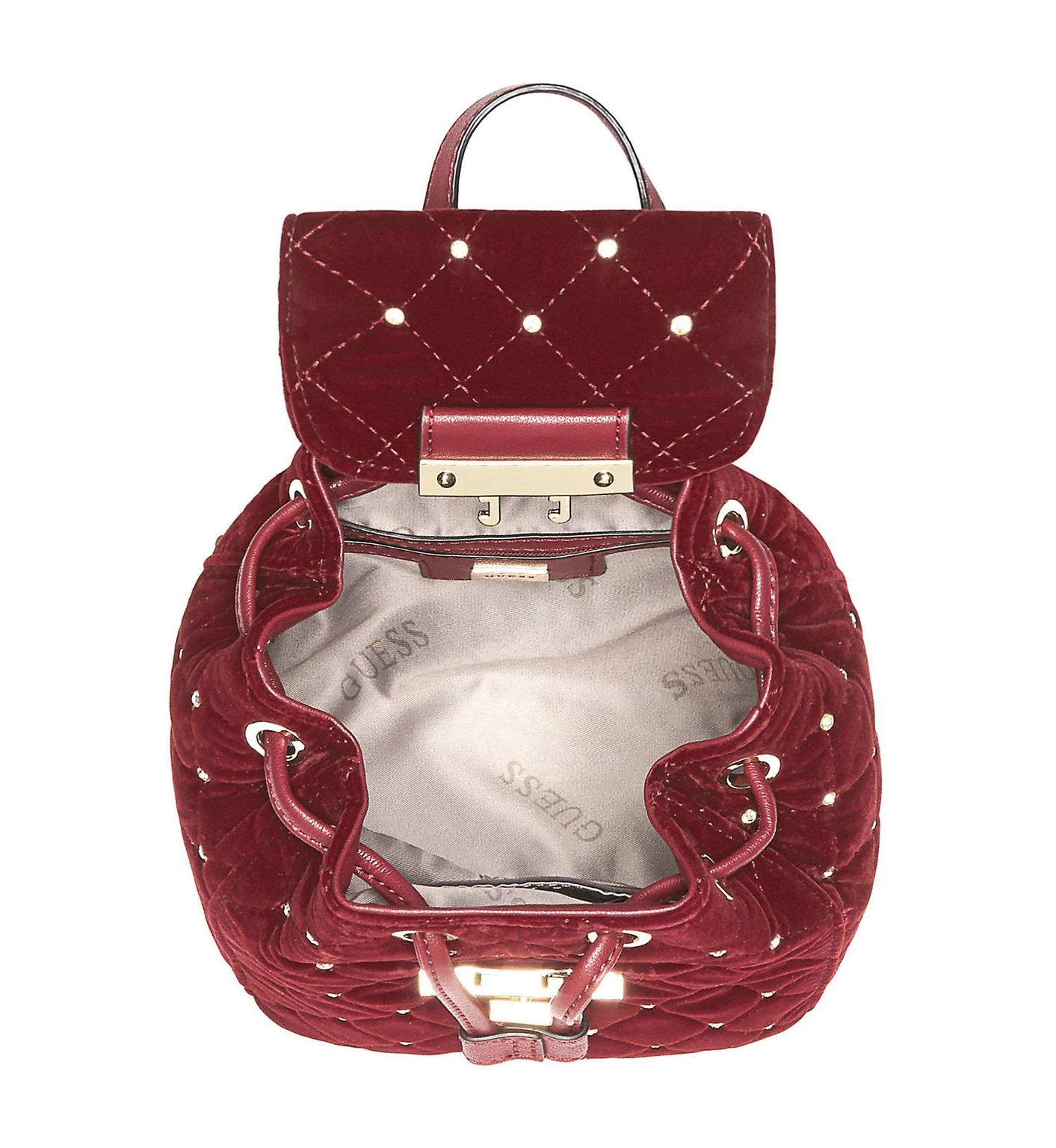 GUESS CORNELIA VELVET MINI BACKPACK BNWT RED