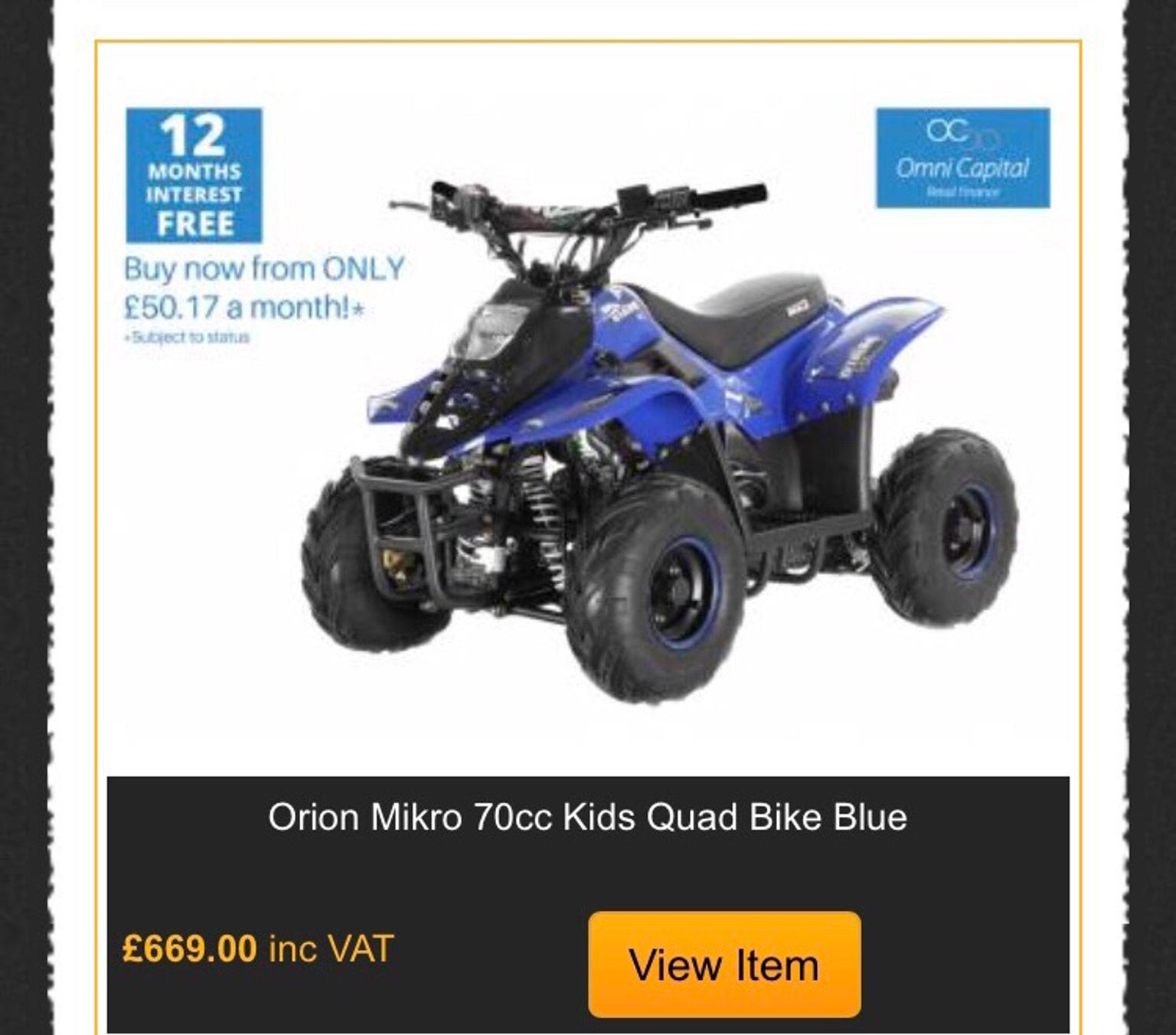 Orion Mikro 70cc Kids Quad Bike Blue In Harlow For 350.00