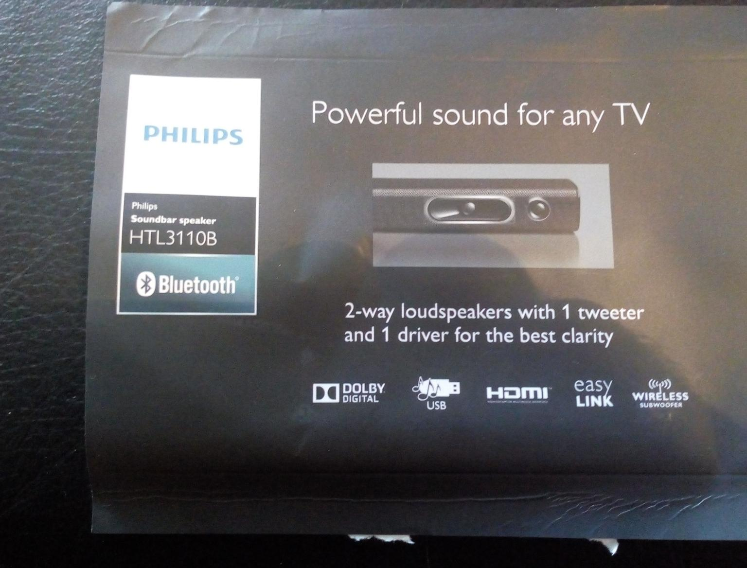 Phillips soundbar with wireless subwoofer