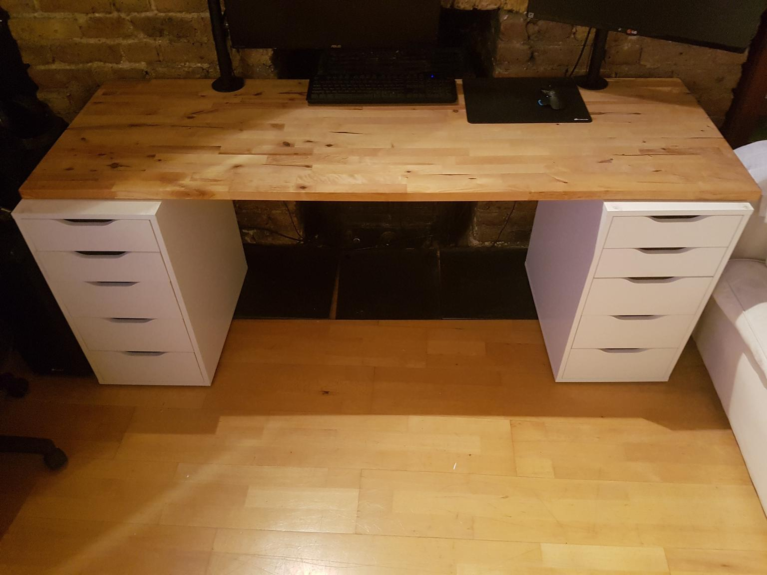 Large Computer Desk Ikea Hammarp Oak In