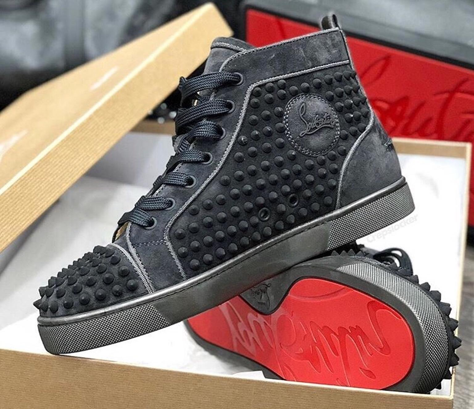 CHRISTIAN LOUBOUTIN SUEDE SPIKES HIGH TOPS
