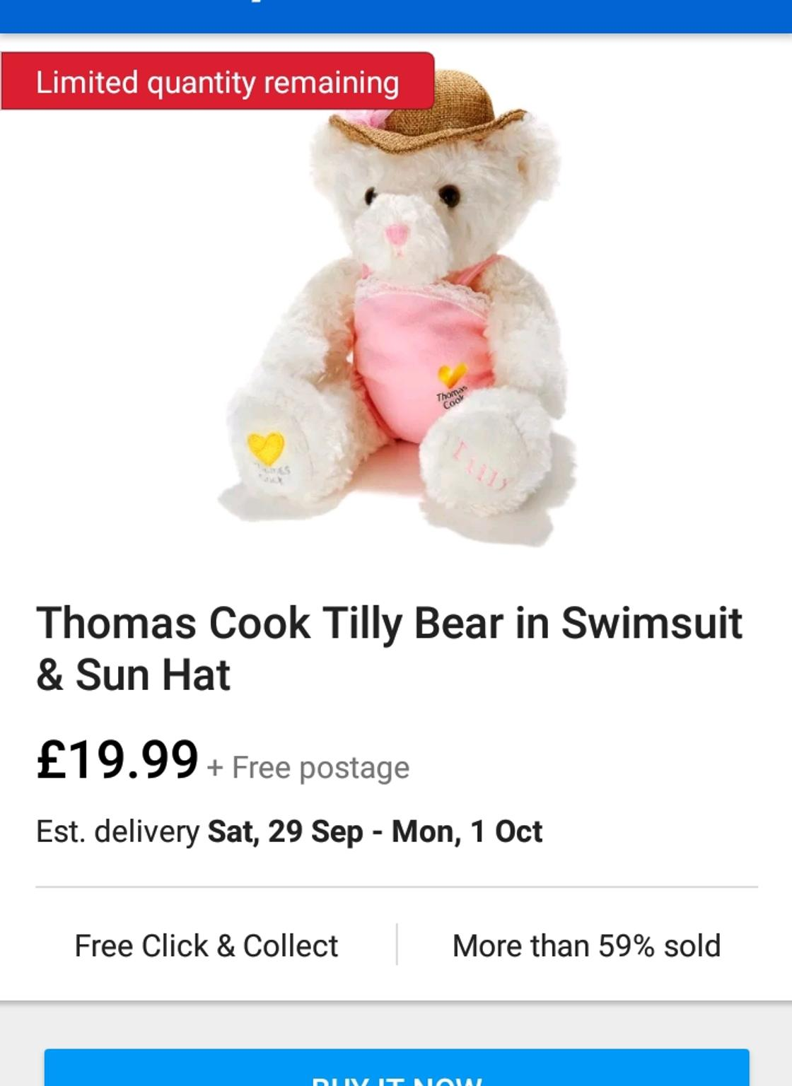 8b383e91d44e4 💕THOMAS COOK TILLY BEAR IN SWIMSUIT SUN HAT in B92 Solihull for £11.00 for  sale - Shpock