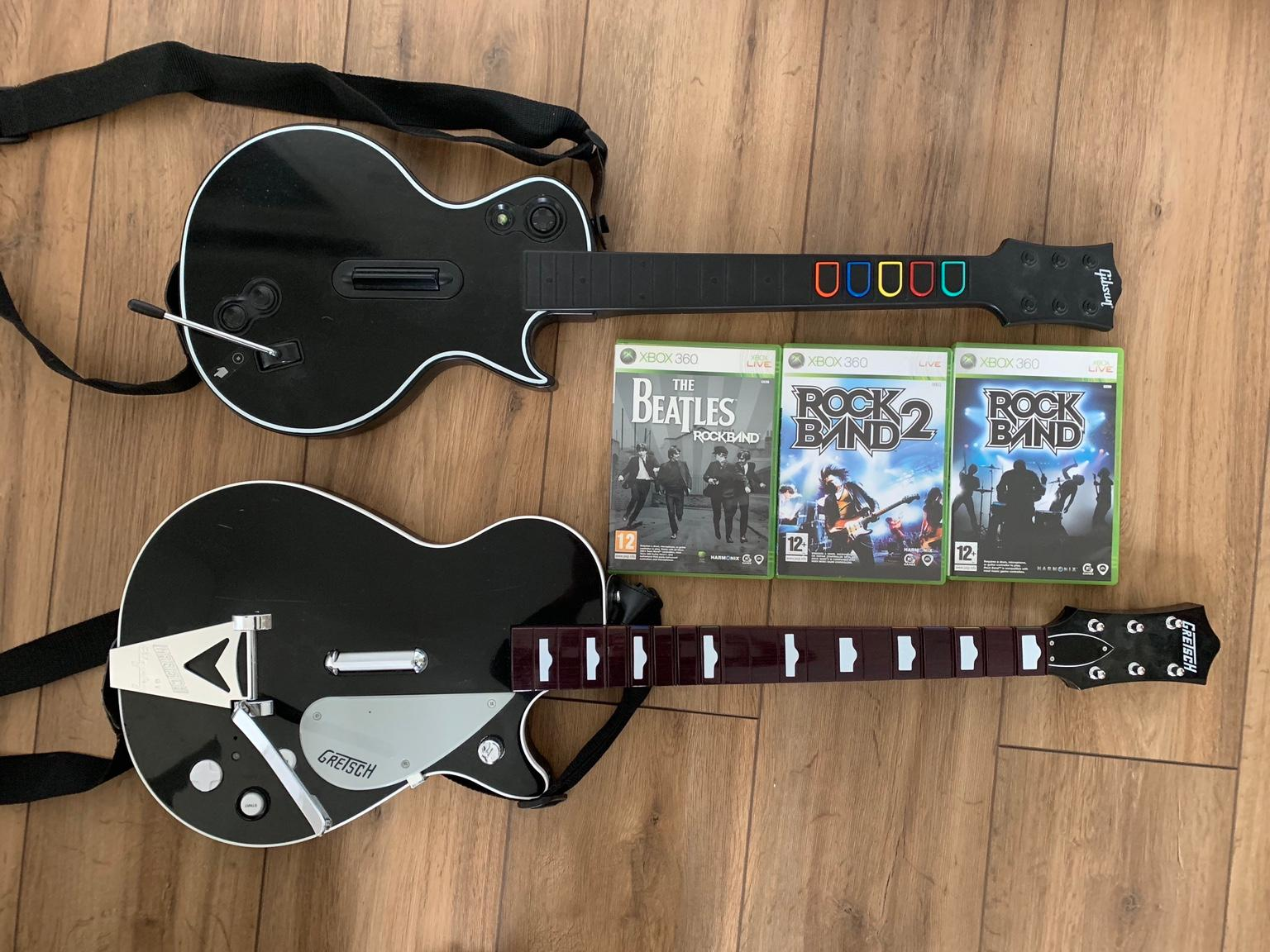2 Xbox 360 Guitars and Rockband Games