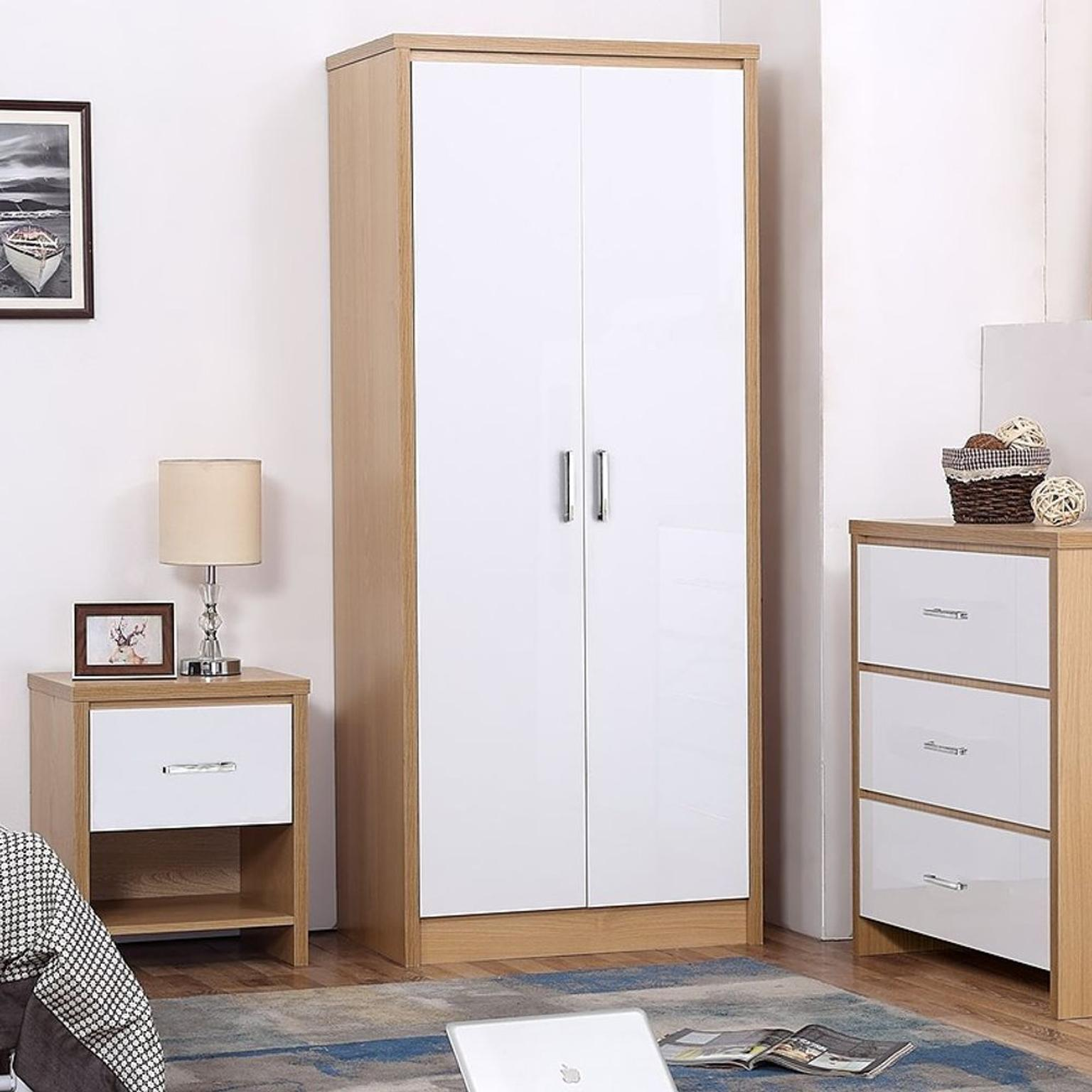 Harmin White Bedroom Furniture SET with Soft Close Doors /& High Gloss Fronts