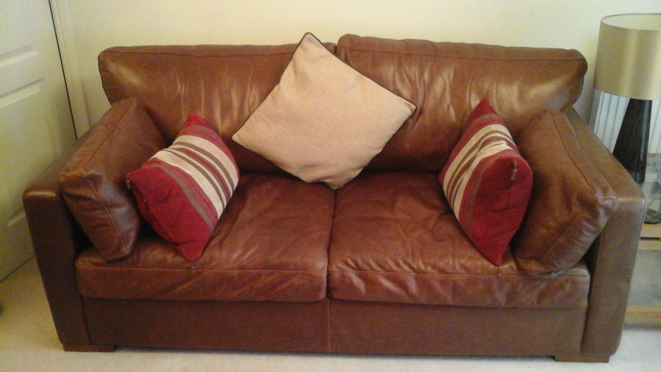 Brown Duresta Leather 3 Seater Sofa Bed