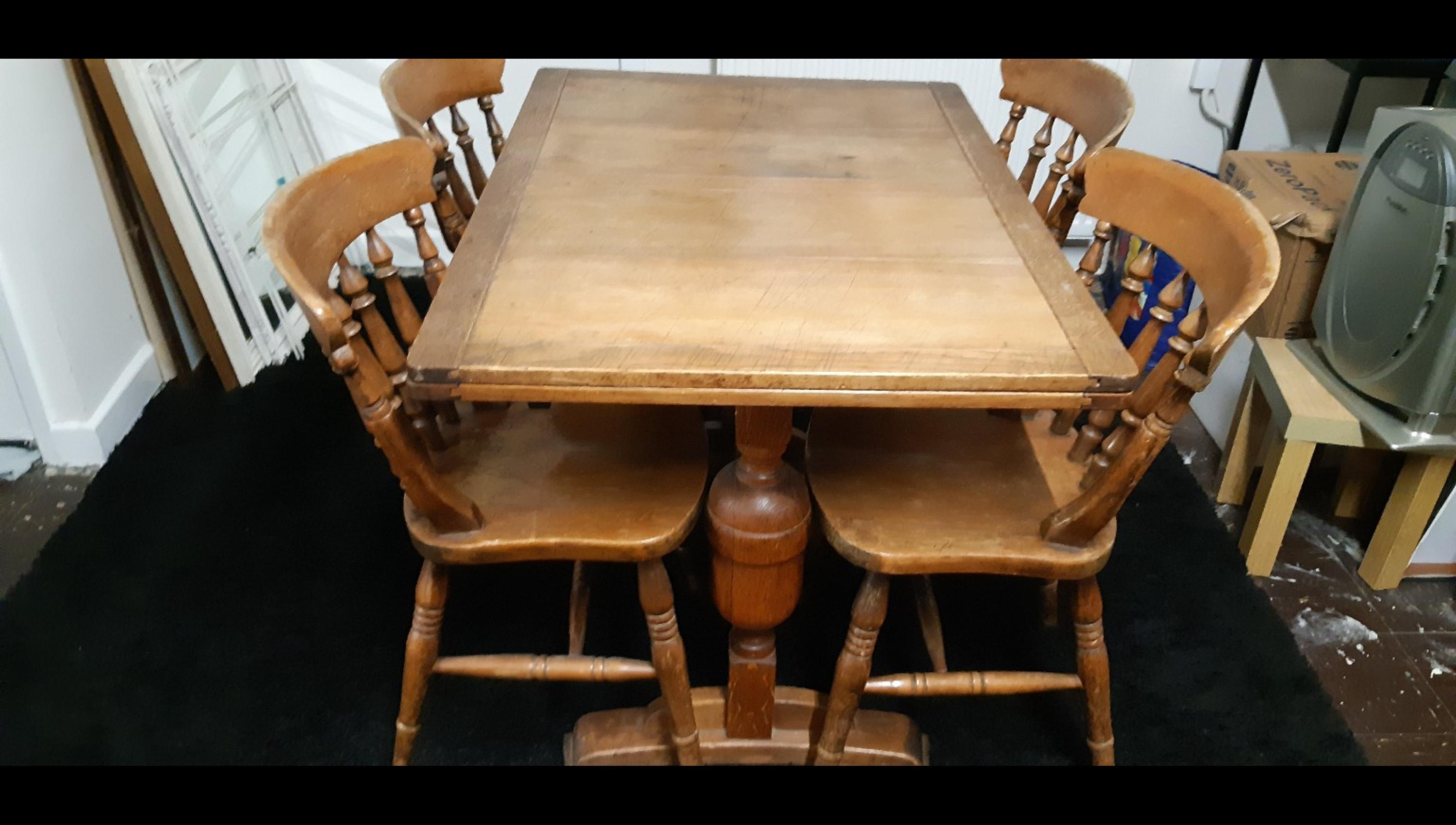 Antique Oak Dining Table N Chairs