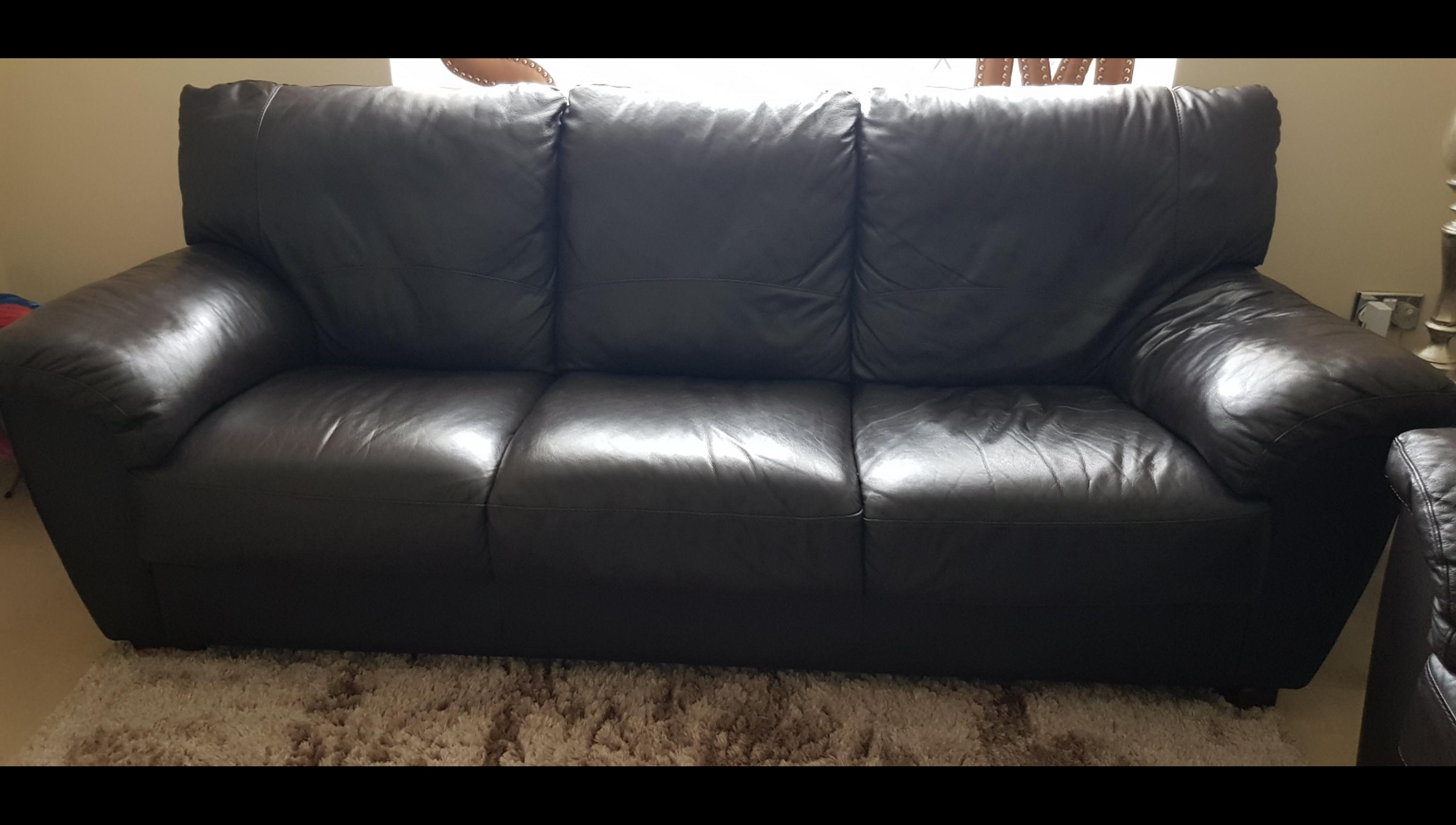 Brown Leather Three Seater Sofa For Sale In Hertsmere For 25 00