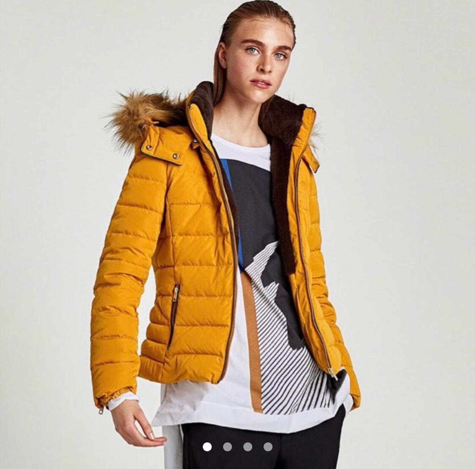 save up to 60% select for latest discount shop ZARA mustard puffer jacket with fur hood
