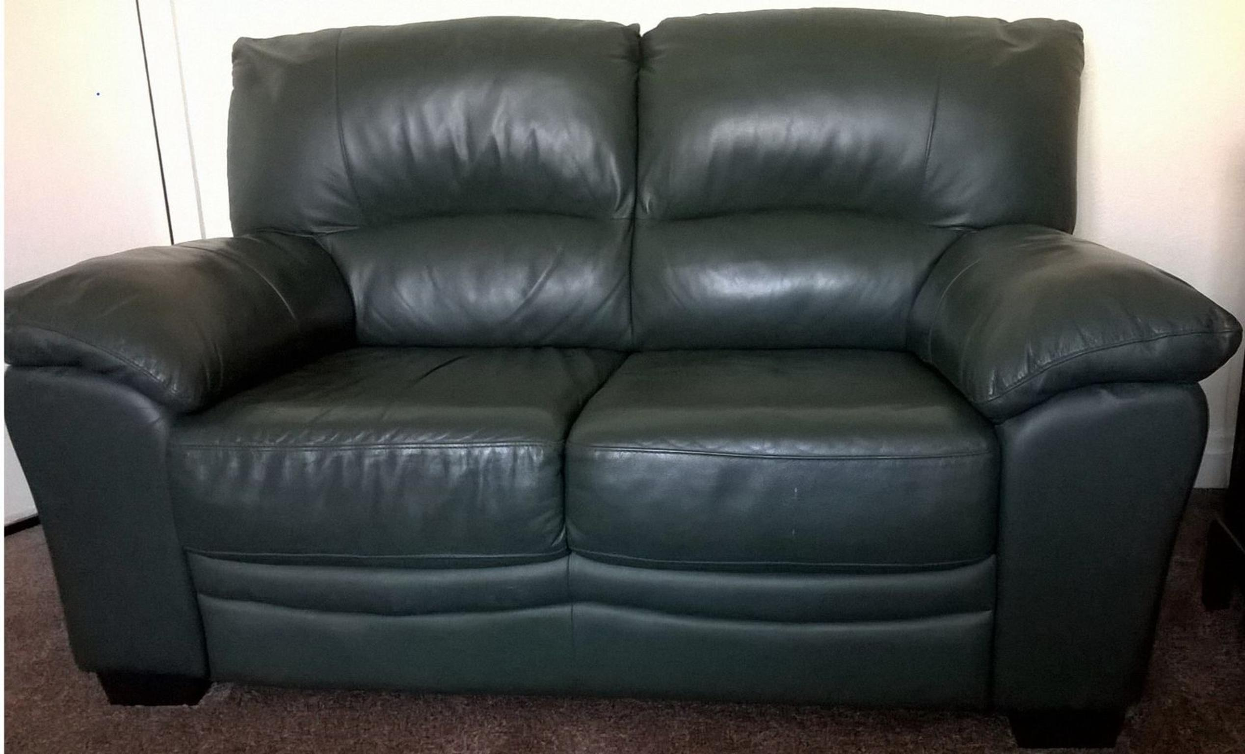 Green Leather Sofa 2 Seater