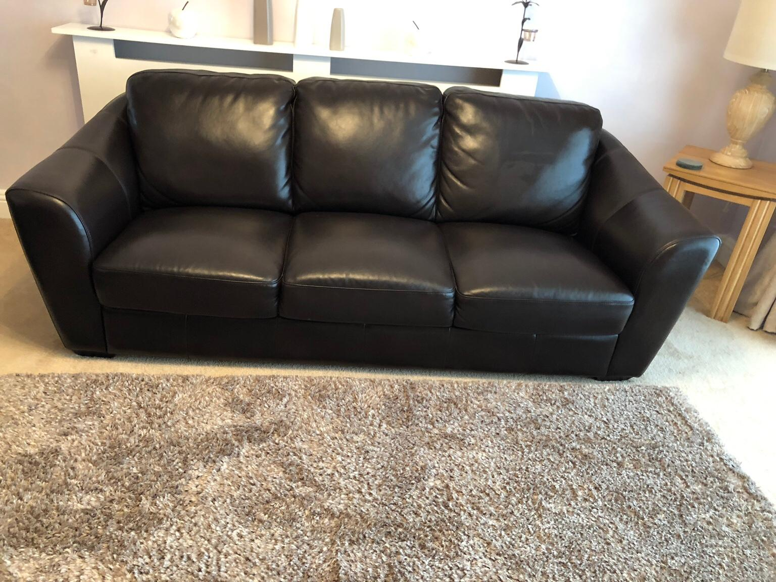 3 & 2 seater brown leather sofas