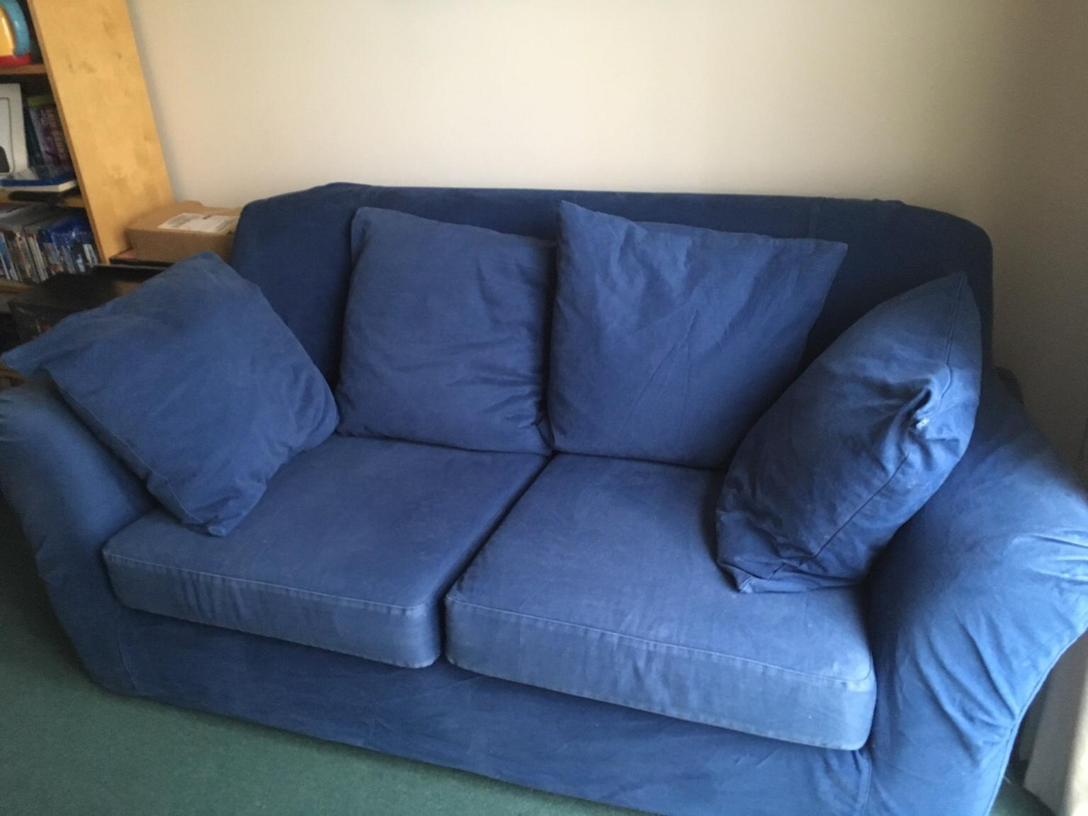 Ikea Blue Denim Sofa 2 Seat In Ox11