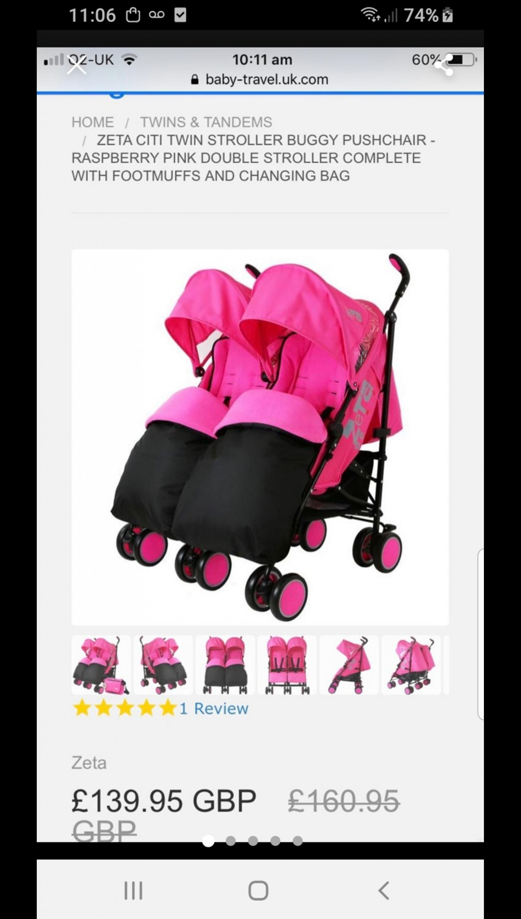 Baby Double Twin Stroller Pink Pushchair Raincover Changing Bag Footmuff Buggy