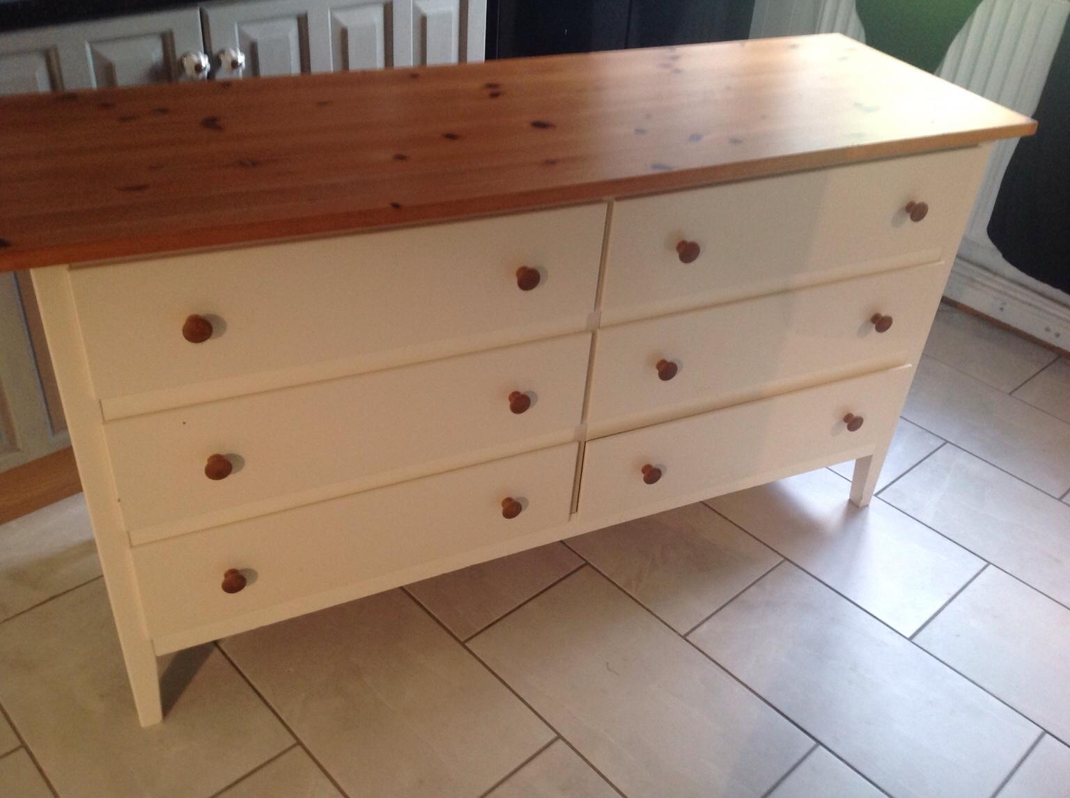 buy popular 798cb 207bb Ikea white and pine double chest of drawers