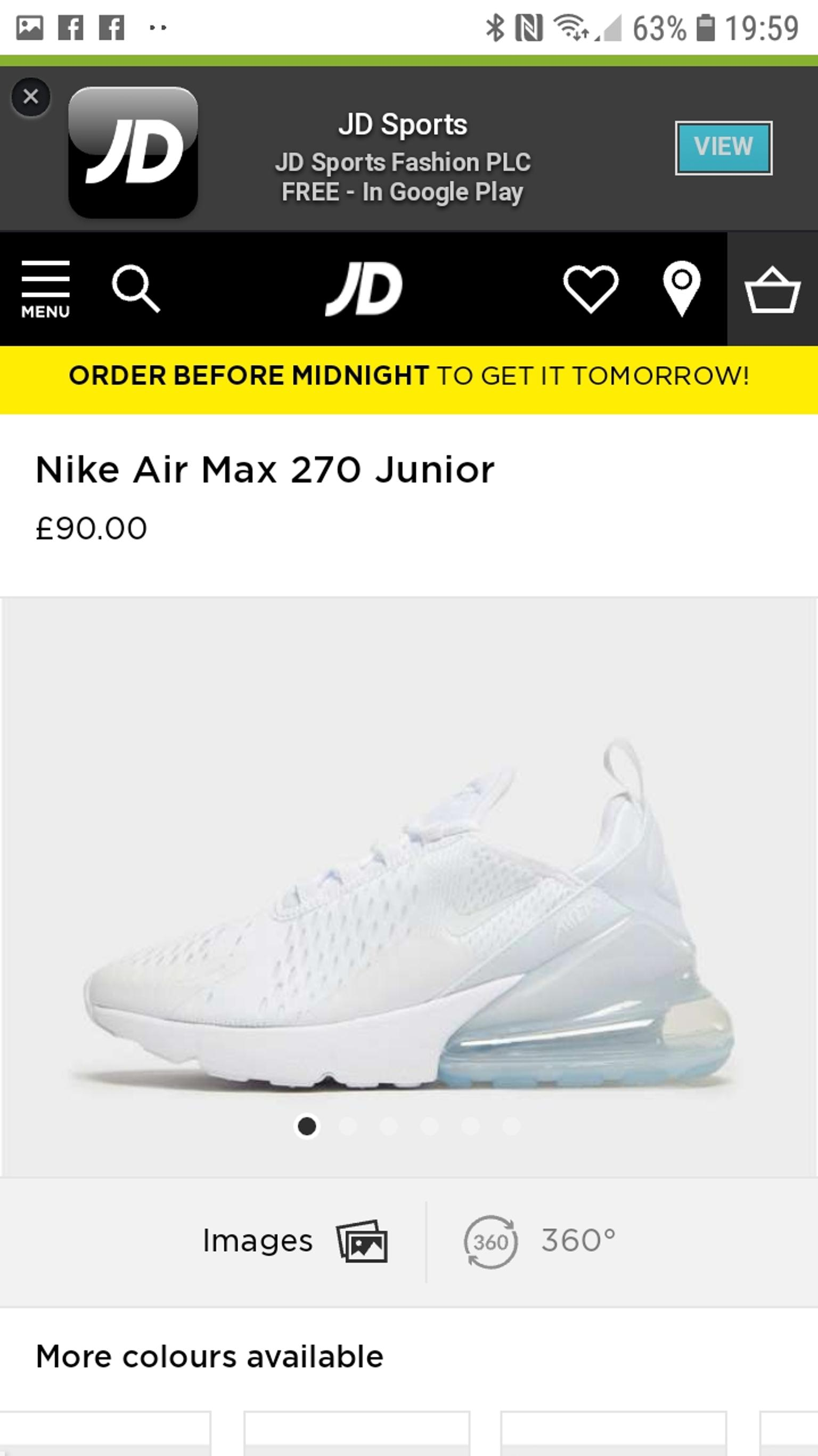 genuine Nike airmax 270 gs Size 3