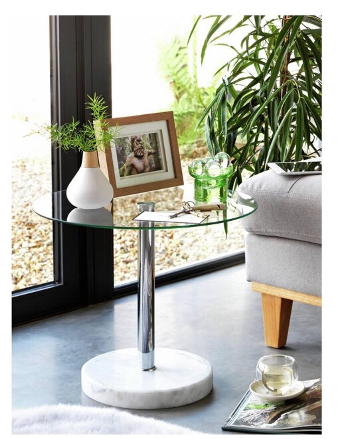 Argos Round Glass And Marble End Table In CF Cardiff For £