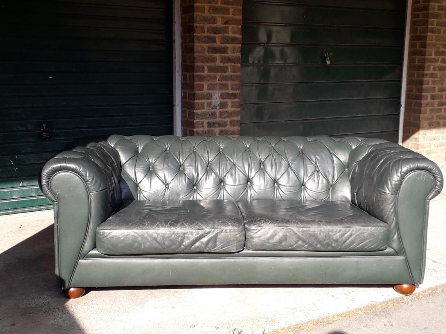 Green leather large Chesterfield sofa in SE11 Lambeth for £200.00 ...