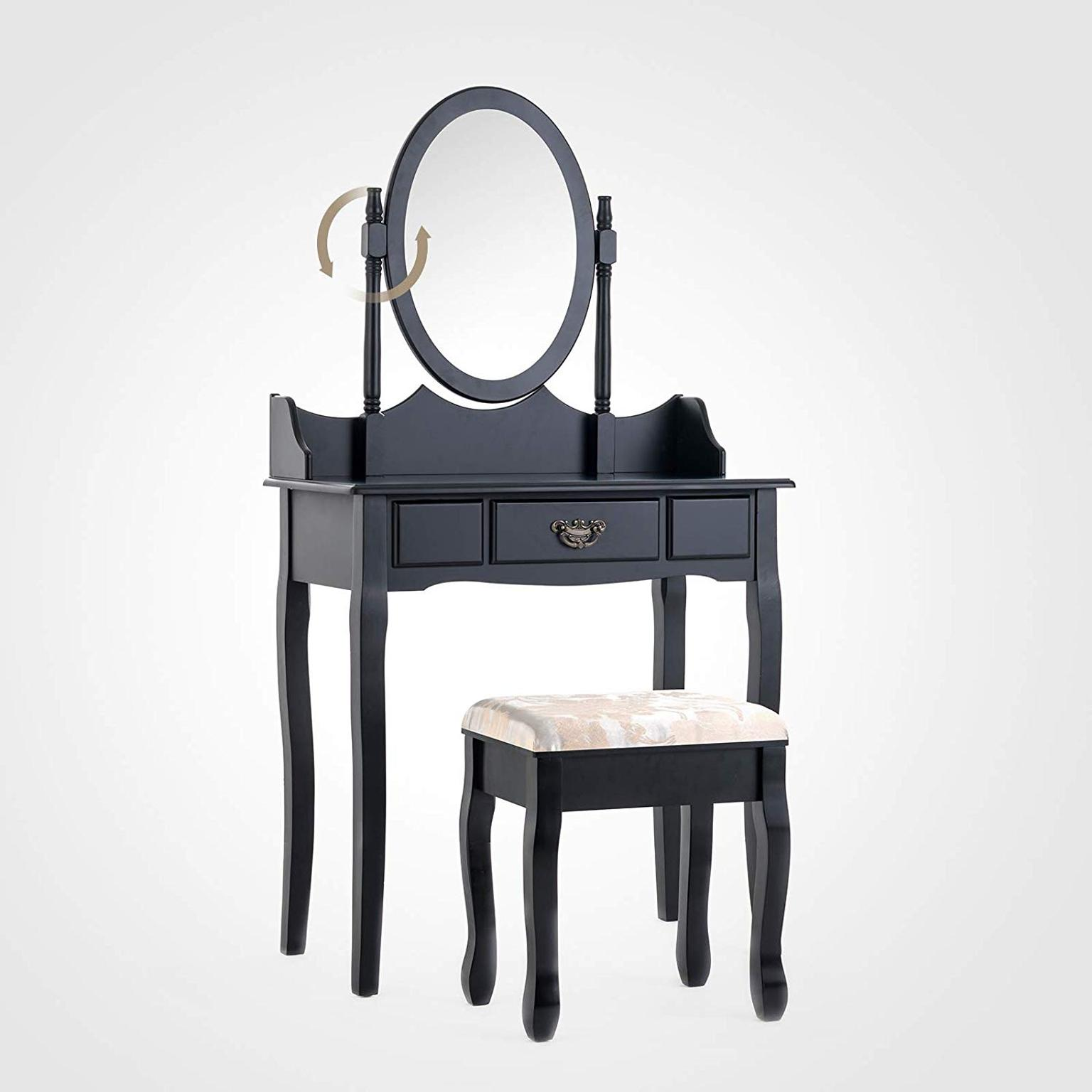Mecor Black Dressing Table Set With Mirror And Stool Shabby Chic Vintage Style Vanity Makeup And Dressing Table Desk Furniture Bedroom Furniture
