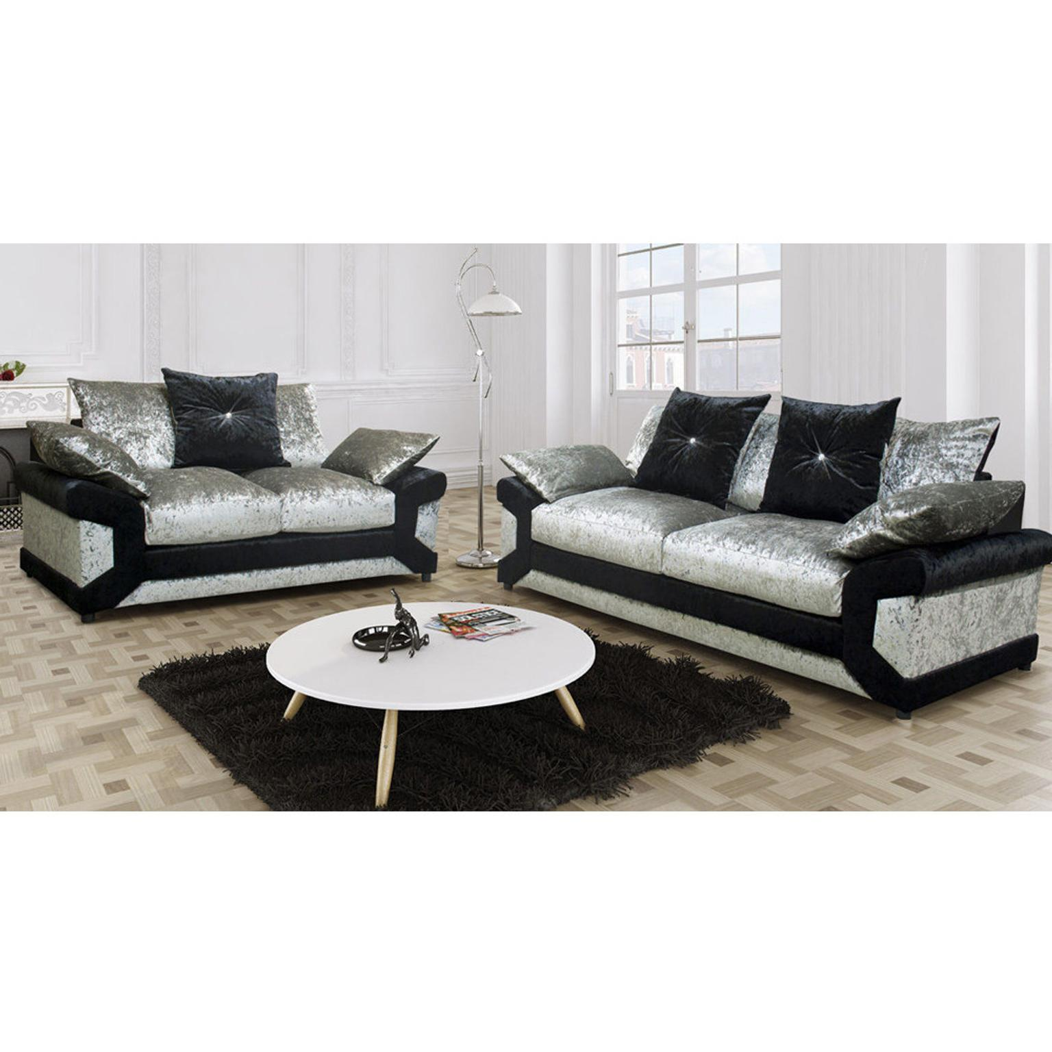 Dino 3 2 Seater Sofa Set Silver In Ls7