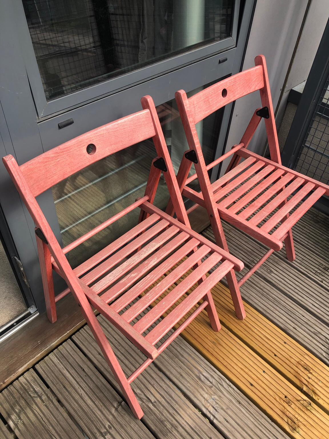 2 IKEA TERJE FOLD WOODEN CHAIR OUTDOOR