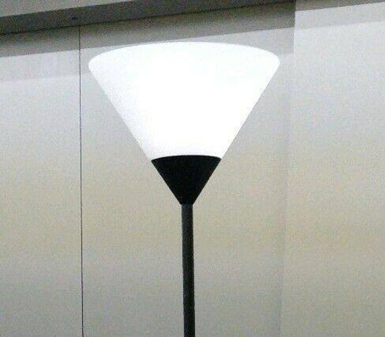 Floor lamp, Frosted glass and black base