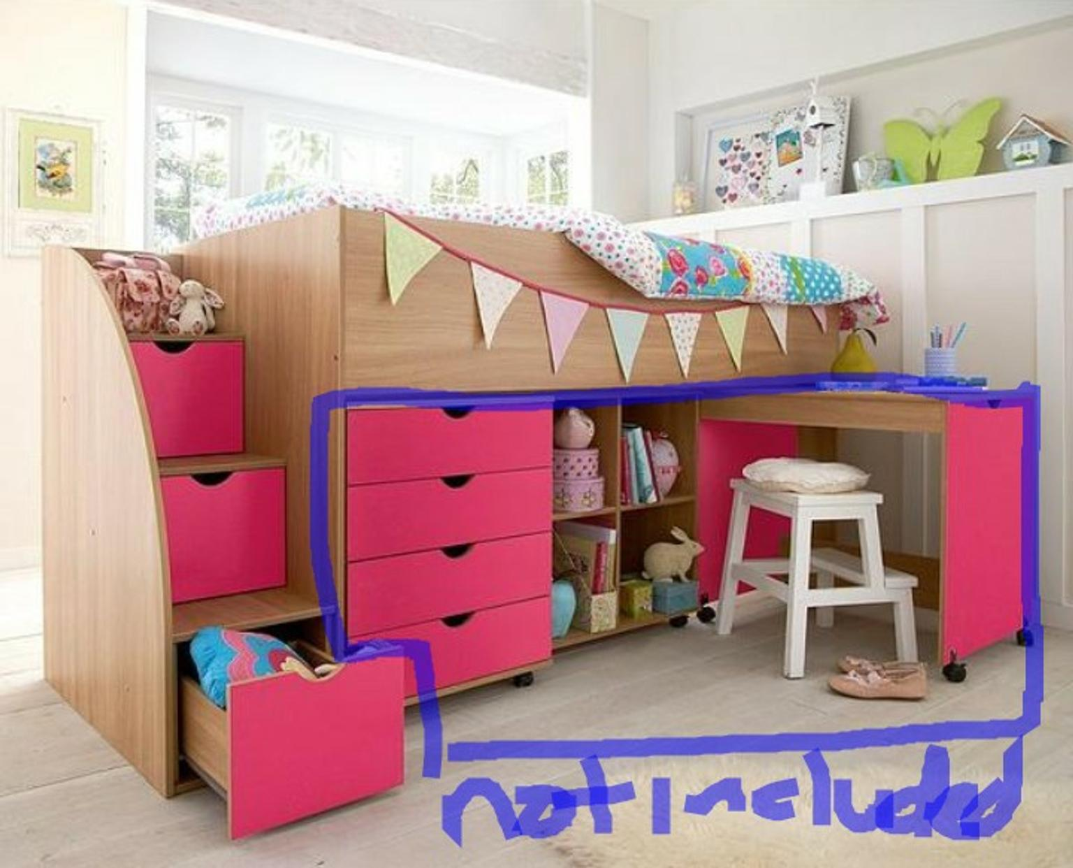 huge discount 63579 4e40c Milo Mid Sleeper Kids Bed with Storage Steps