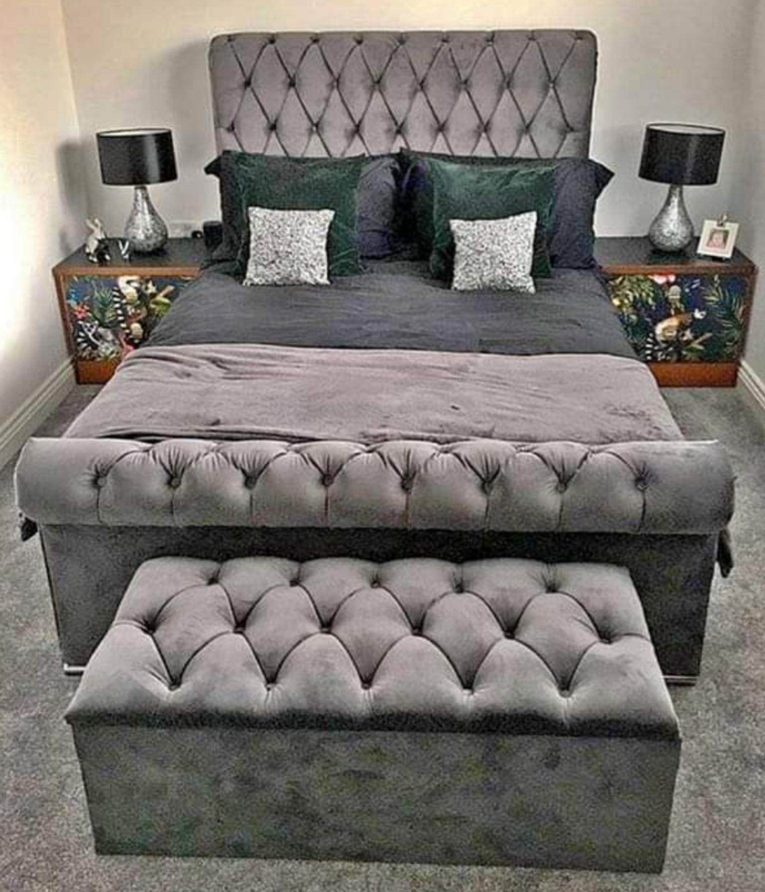 Double Plush Velvet Grey Sleigh Bed In Ws10 Sandwell For 250 00 For Sale Shpock