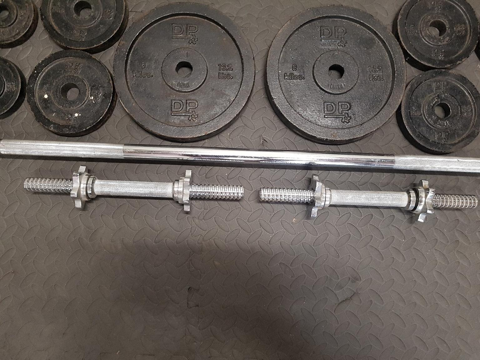 17kg Barbell Weight Set with 5ft Spinlock Barbell Bar /& Weight Discs Cast Iron