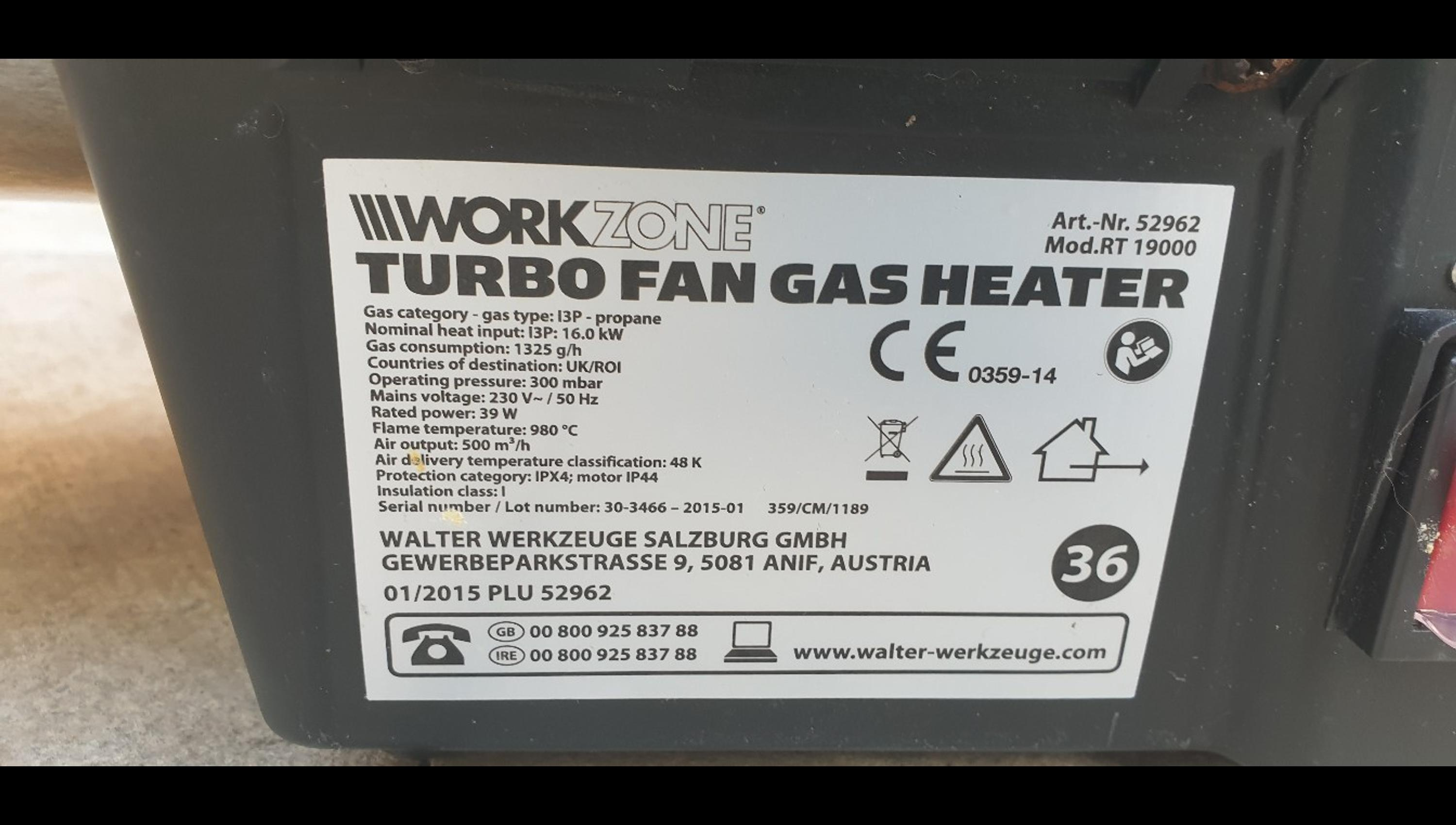 Workzone Turbo Fan Gas Heater for sale