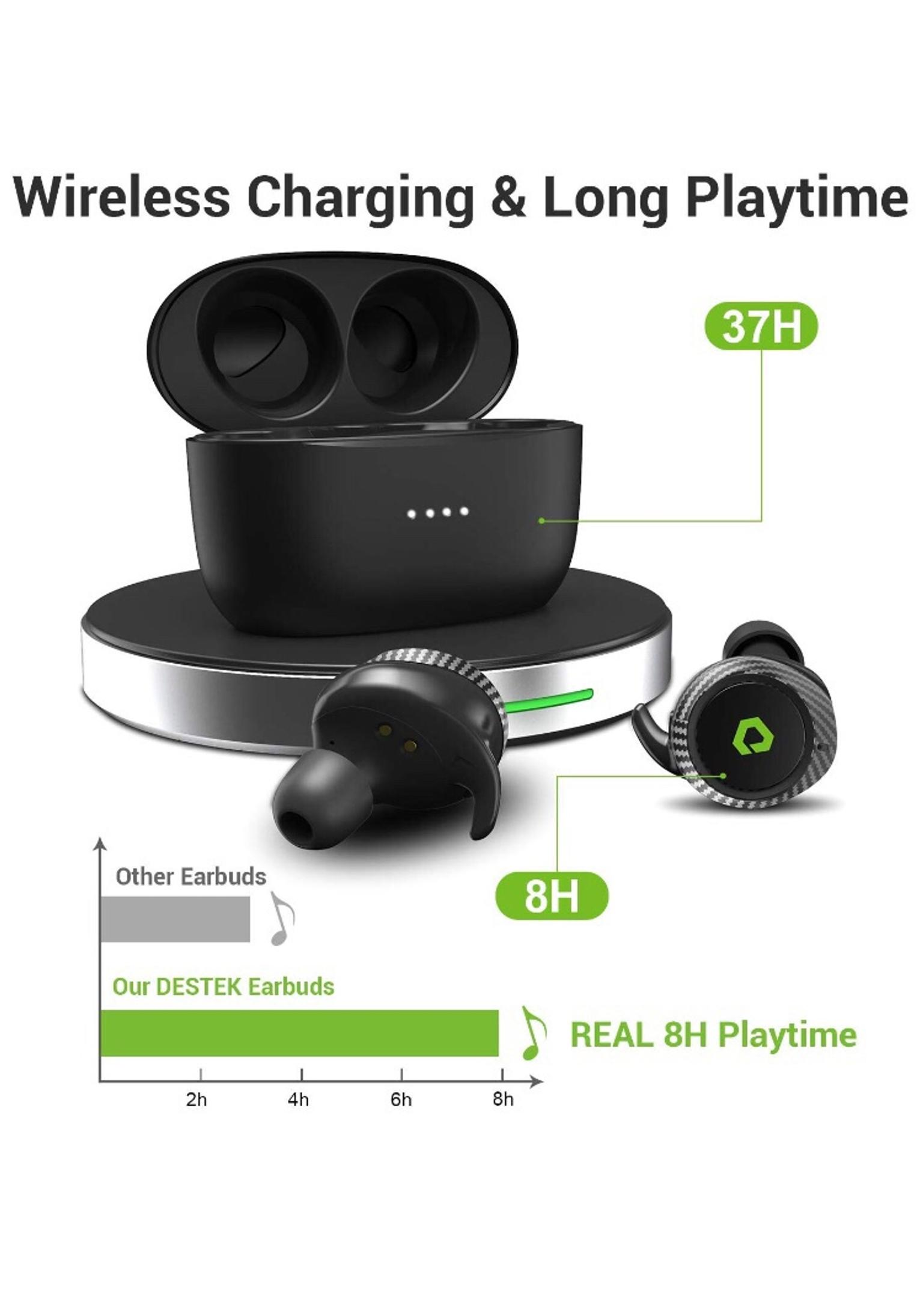 Black Wireless Earbuds,Bluetooth Headphones 5.0 Deep Bass HiFi Stereo Sound Earphones 37H Playtime with Charging Case and Built in Mic for Sports Running