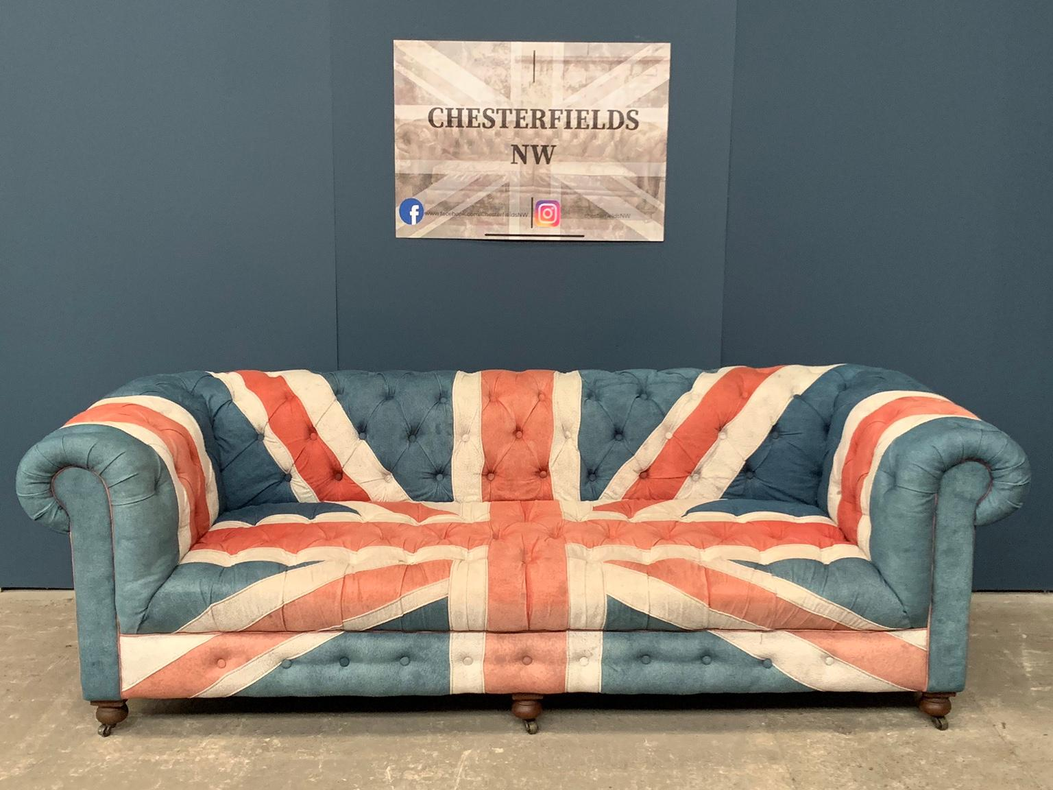 Picture of: Rare Union Jack Denim Chesterfield Sofa In Wa3 Glazebury For 725 00 For Sale Shpock