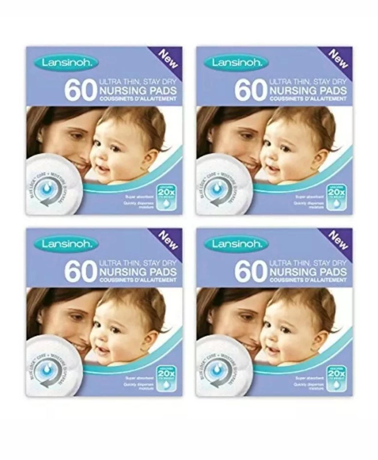 50 Pieces 4 x 60 Piece packs and Disposable Nursing Pads Lansinoh Breastmilk Storage Bags