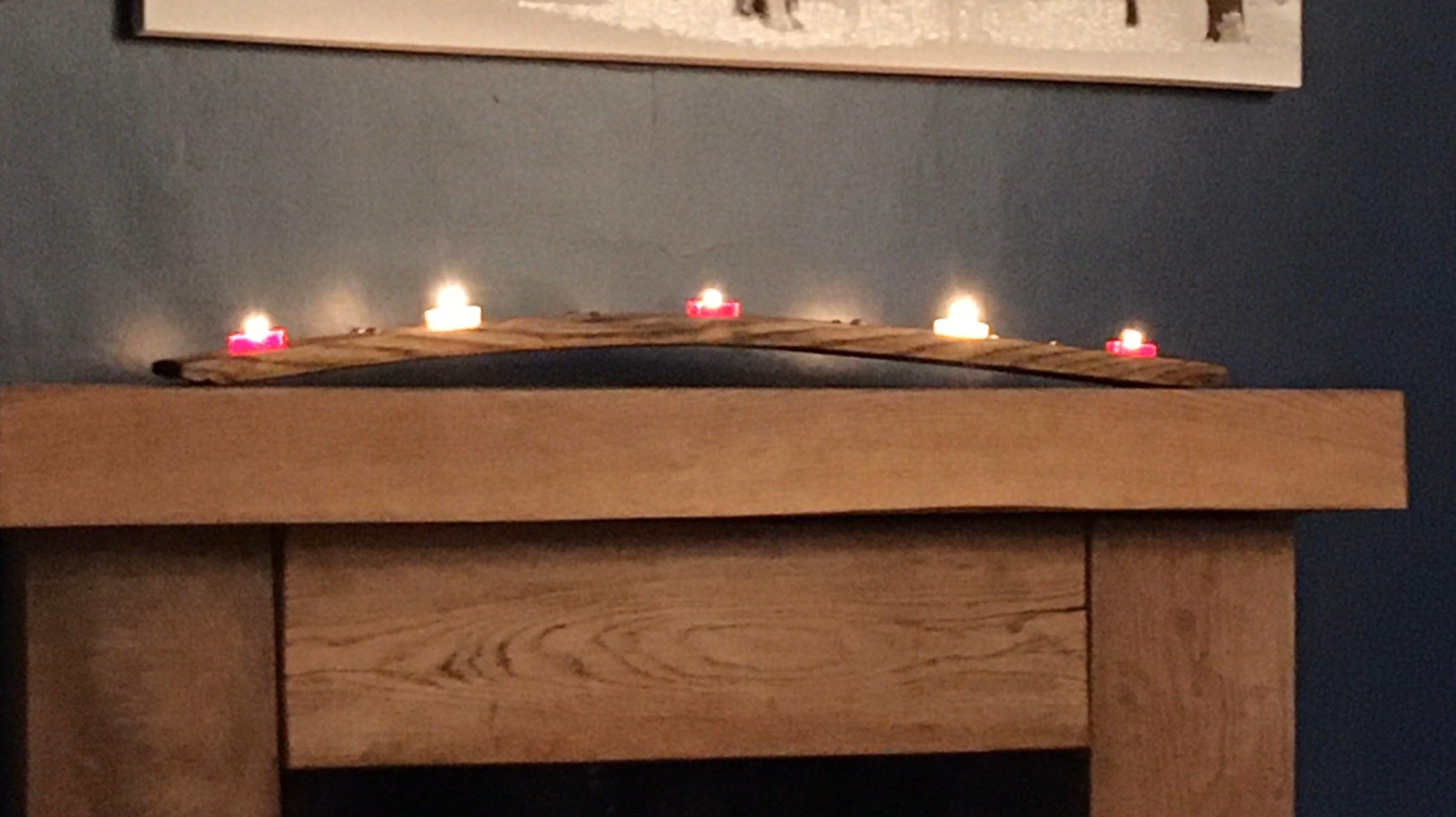 Whiskey Barrel Stave Candle Holder In