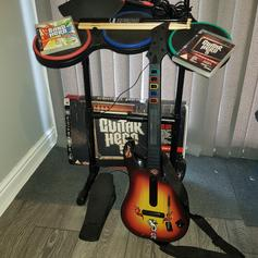 Wii Rock Band - Drum Kit and Guitar in Rochford for £30 00