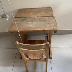 Vintage School Desk And Chair With Inkwell In Rg5 Sonning Fur 25
