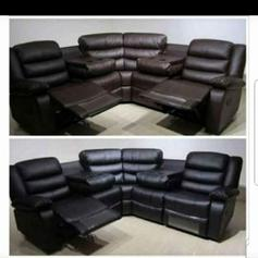 2x2 Seater Black Leather Recliner Sofas