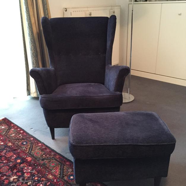 IKEA STRANDMON Sessel & Hocker Vellinge blau in 14612 Falkensee for ...
