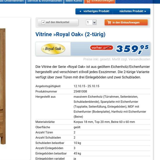 Vitrine Royal Oak 2 Türig In 76879 Bornheim For 25000 Shpock