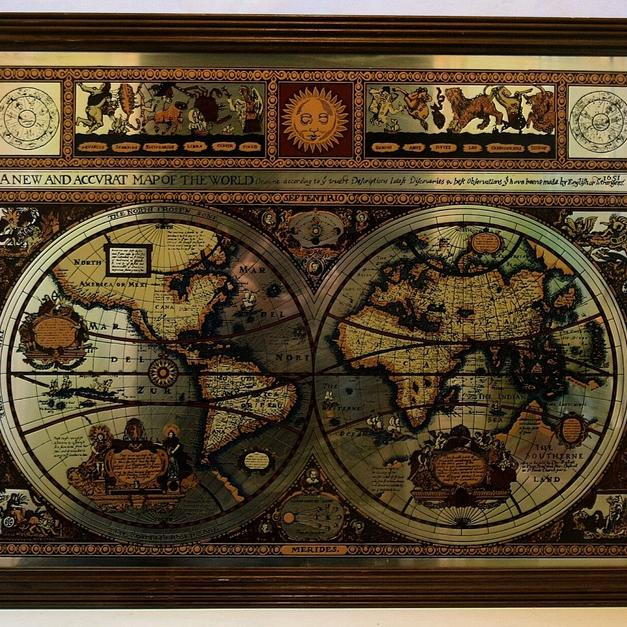 Vintage Mirror Map Framed Map World Map, Know in WS11 Chase for £50 ...