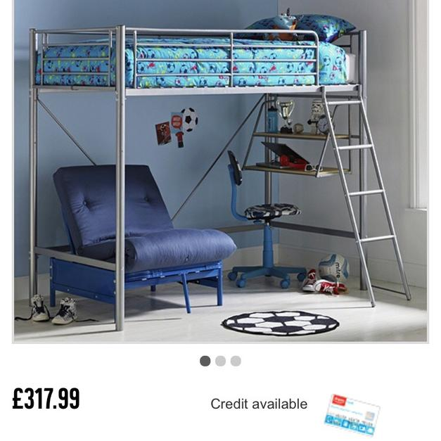 Metal High Sleeper Bed With Desk